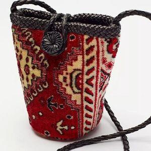En Shalla Carpet Bag SMALL Red/BLK/Tan